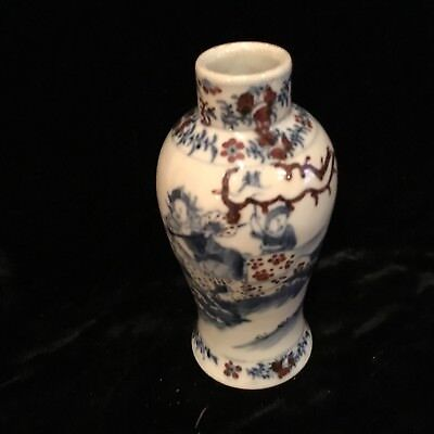 "Antique Chinese porcelain Qing 19c warriors vase 5.5"" 4 character mark VERY FINE"