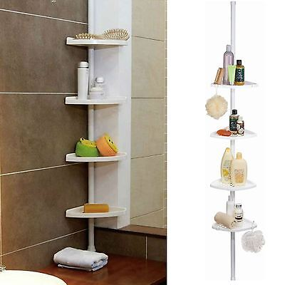 4 Tier Bathroom Shelf Storage Adjustable Telescopic Corner Rack Shower Organiser