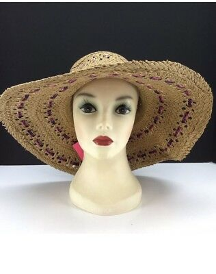 Betsey Johnson Floppy Natural Straw Hat W  Multi-color Ribbon Accent HTF O  af023afc1b49
