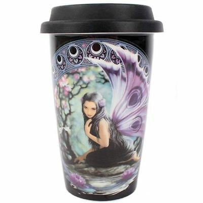 Anne Stokes Naiad Water Nymph Fairy Purple Fantasy Ceramic Travel Mug Gift Boxed