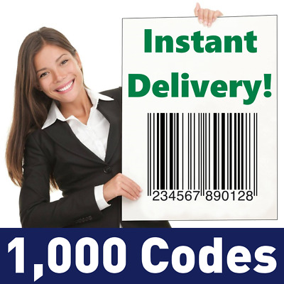 1000 UPC Numbers Barcodes Bar Code GS1 EAN Amazon Guaranteed!