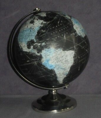 Vintage World Globe Black With Silver Chrome Axis And Base Revolving Detailed