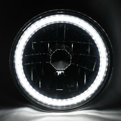 """7"""" Round Halogen H4 SMD LED Halo Glass Headlight Conversion w/ Bulbs Pair Ford"""