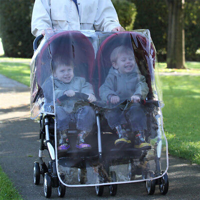 Double Pram Waterproof Cover Universal Fit With Carry Case and Pocket by Diono