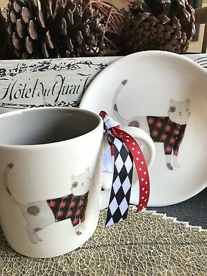 New Magenta by Rae Dunn Farmhouse Cat in Sweater Mug & Plate Set--Cat Mom