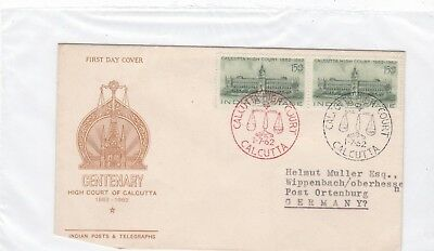 Indien 342 FDC 1962 HIGH COURT CALCUTTA GERICHT JUSTIZ BRIEF COVER INDIA