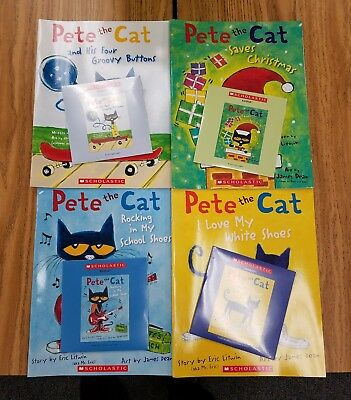 Brand New Pete the Cat / 4 Books & 4 CDs / I Love My White Shoes plus 3 More