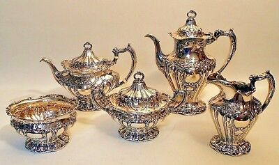 A sterling 5 pc Grand Chantilly tea set, by Gorham, dated 1901/2
