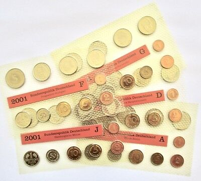 2001 - A,D,F,G,J - All 5 Mints - Germany Deutsche Mark 50 Coin Set Deutschland