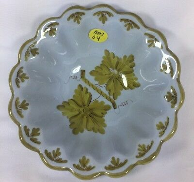 """Vintage AMM Vineyards Hand Painted Italian Pottery Scalloped Coupe Bowl Soup 6"""""""