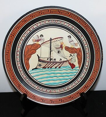 Vintage Hand-Painted  Plate, Copy From Ancient Greek Amphora British Museum