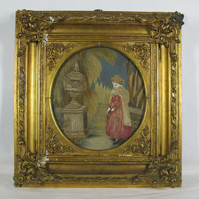 Antique 19th C English Victorian Lady Werter Memorial Embroidery Painting NR yqz