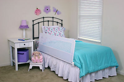 Extra Long Safety Bed Rail Toddler Kids Swing Down Adjustable 56 Inch Long White