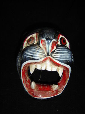 283 BIG JAGUAR NEGRO MEXICAN WOODEN MASK WALL DECOR wild artesania madera arte