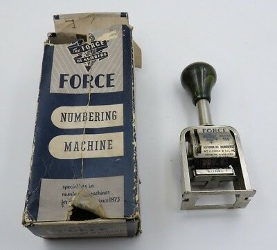 Vintage Numbering Machine The Force Model 150 w/  6 wheels & 3 actions Green Top