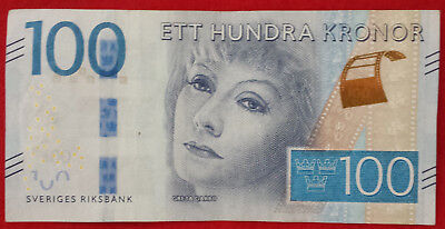 ***Sweden 100 Kronor Clean Circulated Paper Money Bill Banknote Currency***