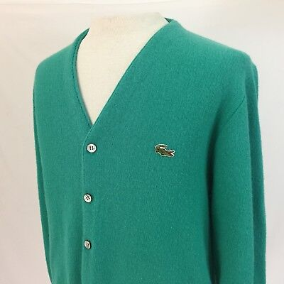 8b017ea1d VINTAGE IZOD LACOSTE Green Cardigan Mens Small with Alligator Logo ...