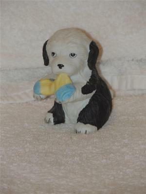 Old English Sheepdog Puppy Dog Figurine Puppy Pals 8917 Sock in Mouth Figure