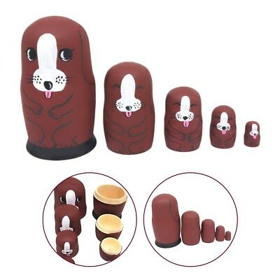 A Set of 5-Layer Dog Dolls Russian Stacking Toys for Little Children Craft Gift