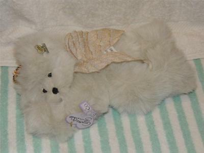 Annette Funicello Collectible Mohair Angel Teddy Bear Charity Blue Cream Color