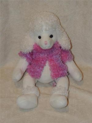 """White PLUSH Toy French POODLE DOG BRIGETTE PUPPY STUFFED ANIMAL 15"""" RUSS BERRIE"""