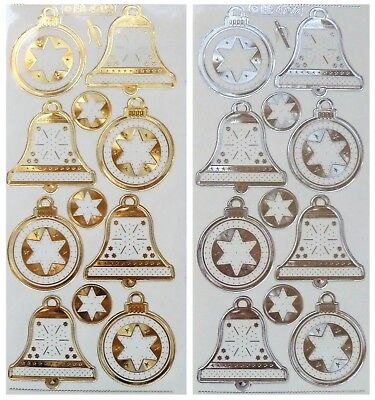 Embossed Embroidery CHRISTMAS BELLS & BAUBLES Peel Off Stickers Gold or Silver