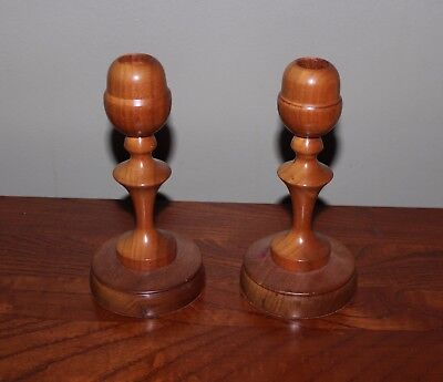 "Pair Of 2 Beautiful Vintage Hand-Turned Wooden Candlesticks 7.25"" Maple"