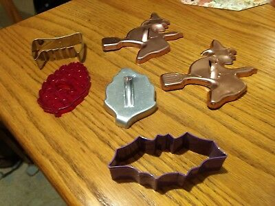Vintage Halloween Fall cookie cutters copper witches leaf red pinecone bat fangs