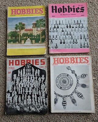 Vtg Hobbies The Magazine for Collectors 1937 1941 1947 Stories on Buttons Dolls