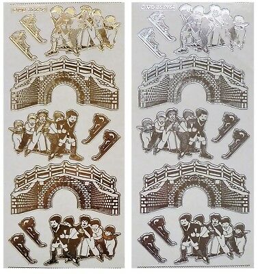 Embossed CHRISTMAS ICE SKATING CHILDREN Peel Off Stickers Gold or Silver