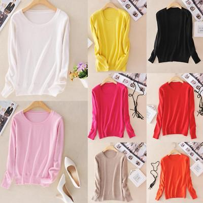Women Autumn Knitted Cashmere Long Sleeve Jumper Pullover Sweater Winter Tops US