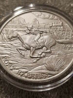 1 OZ .999 Silver Pony Express round old west outlaws gold rush railroad train