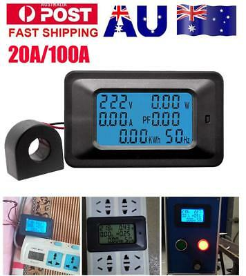 LCD Digital 20/100A Panel Power Watt Meter Monitor Voltage KWh Voltmeter Ammeter