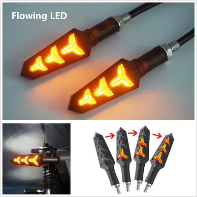 1 Pair Amber Fish Bone Style Sequential Flowing LED Motorcycle Turn Signal Light