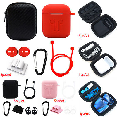 For Apple AirPods Accessories Silicone Cover Case With Anti Lost Strap Hook Kit