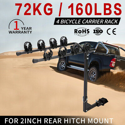 4 Bicycles Bike Rack Carrier 2inch For Car Rear Towbar Foldable Hitch Mount