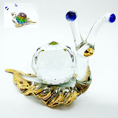 Snail Back Diamond Cute Blown Glass Art FIGURINE ANIMALS COLLECTION Decorate