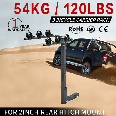 3 Bicycles Bike Rack Carrier 2inch For Car Rear Towbar Hitch Mount Foldable
