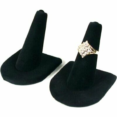2  Black Velvet Ring Finger Jewelry Displays Holders Showcases 2""