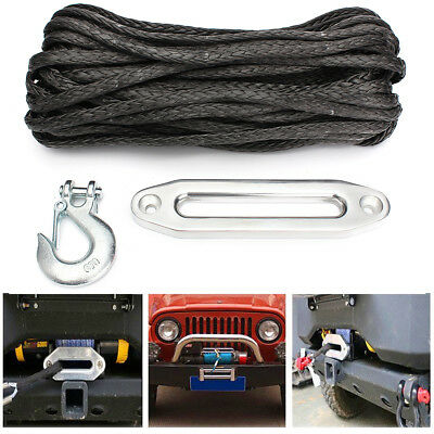 100ft x 10mm Synthetic Winch Rope & Hook 10500KG Self recovery 4x4 G70 Snap UK