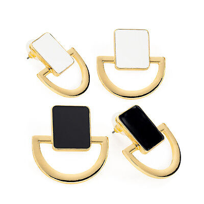 2 Pairs of Gold Coloured Stud Earrings White and Black Ladies Fashion Jewellery