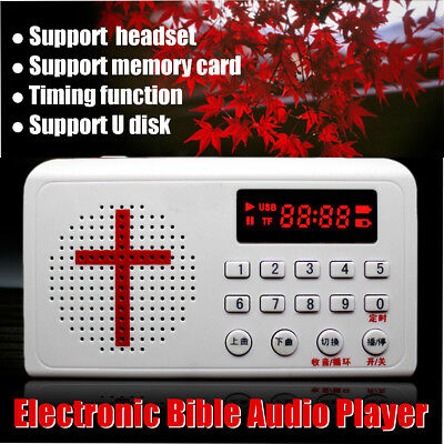 Electronic Bible Audio Talking Speaker Player Rechargeable Radio Gift White