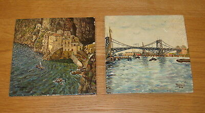 Antique / Vintage ~ Two Wohlhaupt Painted Tiles Dated 1948
