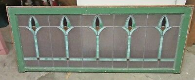 """Antique Arts & Crafts Stained Glass Window Flowers 48"""" Pair Available"""