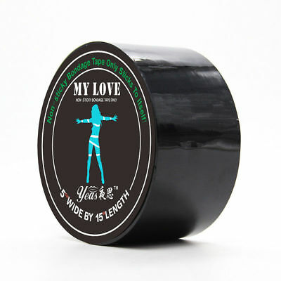 "1 Roll Black Bondage Tape Hen & Stag Party 2"" Deep x 15m Long Non Sticky"