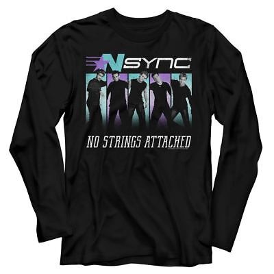NSYNC Justin Timberlake LS T-Shirt Blue Purple Music Band Black Cotton SM - 2XL