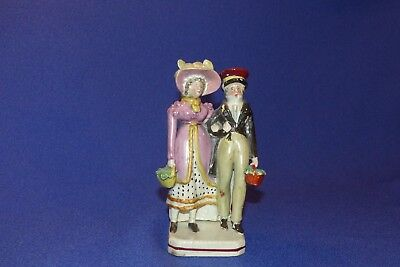 EARLY SQUARE BASED STAFFORDSHIRE FIGURE - THE DANDIES - C.1840s GREAT COSTUMES.