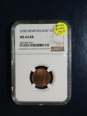 1938 Newfoundland One Cent NGC MS64 RB 1C Coin PRICED TO SELL NOW!