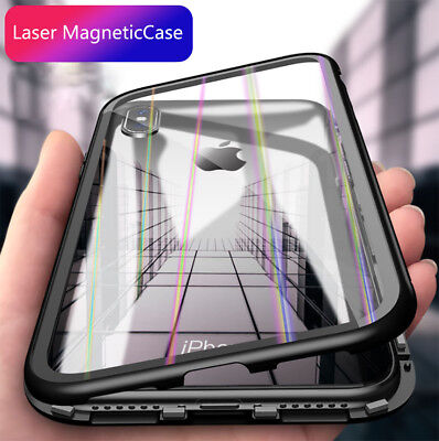 Magnetic Adsorption Laser Case For Huawei P20 Pro Luxury Tempered Glass Cover