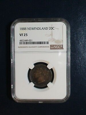 1888 Newfoundland Twenty Cents NGC VF25 SILVER 20C Coin PRICED TO SELL NOW!